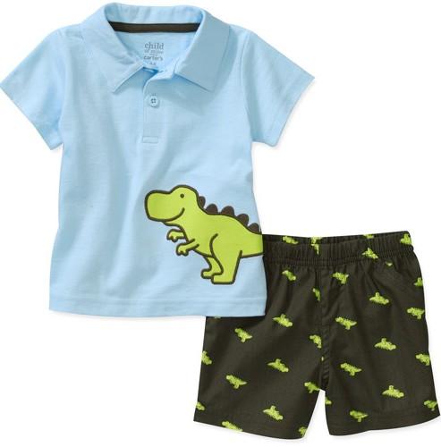 מארז חולצת פולו ומכנסיים קצרים של Carter's – דינו