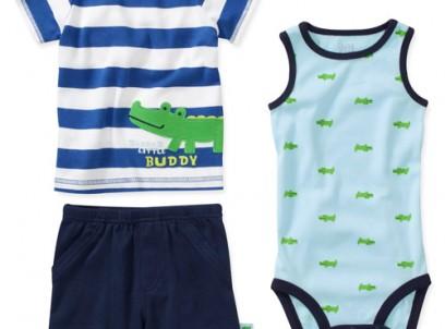 מארז בגד גוף, חולצה ומכנסיים לתינוק של Carter's – אליגייטר