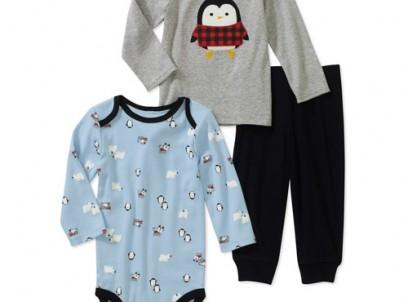 מארז בגד גוף, חולצה ומכנסיים לתינוק NB של Carter's – פינגווין היפסטר – אחרון במלאי!