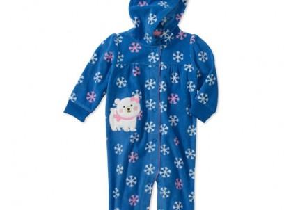 בגד גוף פליז ארוך לתינוקת של Carter's – דובת הקוטב הצפוני