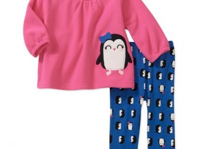 מארז חולצה ומכנס פליז לתינוקת של Carter's – פינגווין