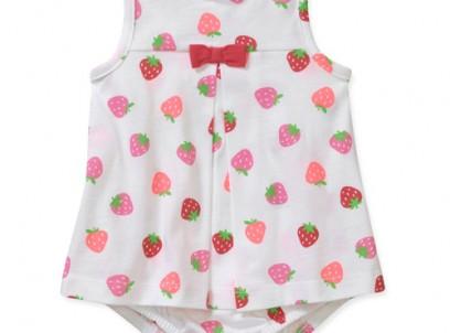 בגד גוף שמלה לתינוקת של Carter's – תותים בקצפת