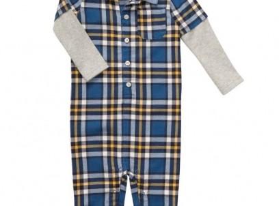 אוברול פלנל לתינוק של Carter's – כחול צהוב