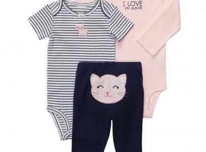 מארז בגד גוף, חולצה ומכנסיים לתינוקת של Carter's – חתולים בצמרת