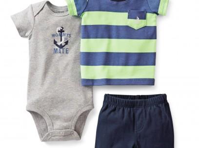 מארז בגד גוף, חולצה ומכנסיים לתינוק של Carter's – יום בילוי ביאכטה