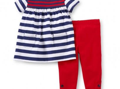 שמלה ומכנס תואם לתינוקת של Carter's – טומי