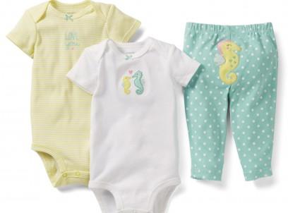 מארז במידת Preemie (פג) שני בגדי גוף ומכנסיים לתינוקת של Carter's – סוסוני ים