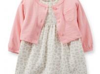 בגד גוף שמלה וקרדיגן לתינוקת של Carter's – ליידי מנומרת