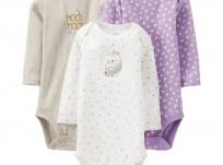 שלישיית בגדי גוף לתינוק של Carter's – ינשופון ולישון