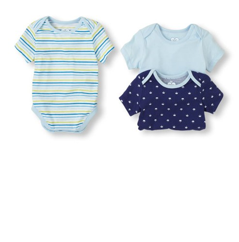 מארז שלישיית בגדי גוף מודפסים לתינוק 0-3M של Children's Place – קינג
