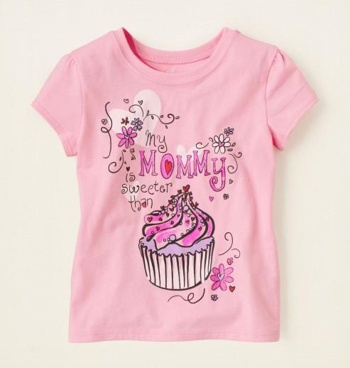 חולצה קצרה לתינוקת מבית Children's Place- My Mommy Is Sweeter Than a Cupcake