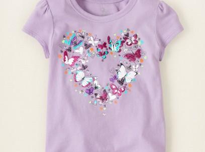 חולצה קצרה לתינוקת מבית Children's Place – לב פרפרים