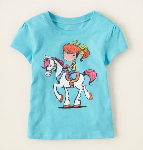 חולצה קצרה לתינוקת מבית Children's Place – נסיכה על סוס לבן