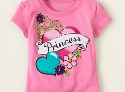 חולצה קצרה לילדה מבית Children's Place – ורוד Princess tattoo