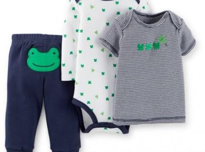 מארז בגד גוף, חולצה ומכנסיים של Carter's- צפרדעוני