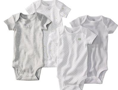 מארז רביעיית בגדי גוף מודפסים לתינוק של Carter's – פילים