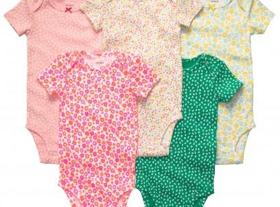 מארז חמישיית בגדי גוף לתינוקת Carter's – פרחוני ניאון