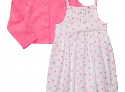 מארז בגד גוף שמלה וקרדיגן לתינוקת מבית Carter's – ורוד דובדבן