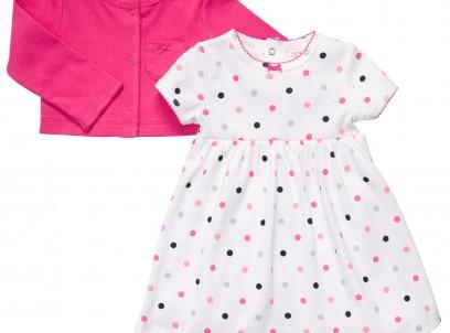 """מארז בגד גוף שמלה וקרדיגן לתינוקת מבית Carter's – ורוד פוקסיה נקודות מבצע 89 ש""""ח בלבד!"""