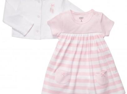 """מארז בגד גוף שמלה וקרדיגן לתינוקת מבית Carter's – ורוד בלט מבצע 89 ש""""ח בלבד!"""