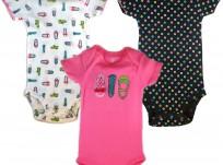 מארז שלישיית בגדי גוף מודפסים לתינוקת של Carter's – בלרינה מושלמת