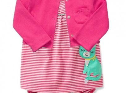 בגד גוף שמלה וקרדיגן לתינוקת של Carter's – חתולה גנדרנית
