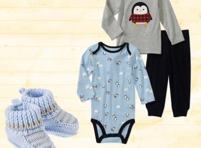 מארז  מתנה לתינוק הכולל בגד גוף, חולצה, מכנס ונעליים של Carter's במידה NB