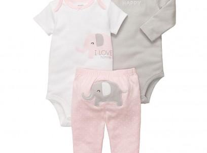 מארז במידת Preemie (פג) 2 בגדי גוף ומכנס לתינוקת של Carter's – פילה מגונדרת