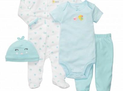 מארז במידת Preemie (פג) 2 בגדי גוף, מכנס וכובע של Carter's – אפרוחונים