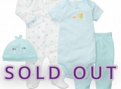 מארז במידת Preemie (פג) 2 בגדי גוף, מכנסיים וכובע של Carter's – אפרוחונים
