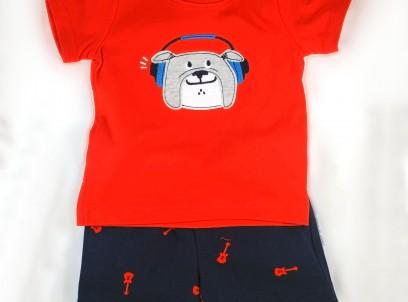מארז חולצה ומכנסיים קצרים לתינוק של Carter's – בולדוג מוזיקלי