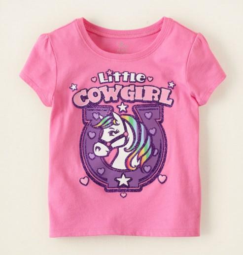 חולצה לתינוקת מבית Children's Place – ורוד בייבי Little Cowgirl
