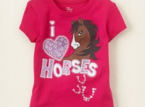 חולצה לתינוקת מבית Children's Place – הדפס I Love Horses