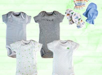 מארז מתנה לתינוק – רביעיית בגדי גוף פילים Carter's ושלישיית זוגות כפפות Gerber