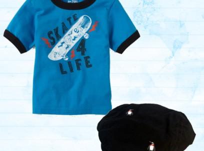 מארז לתינוק 6-9M – חולצה בהדפס Skate 4 Life וכובע קסקט Children's Place