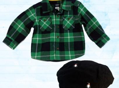 מארז חולצת פלנל ירוקה Carter's וכובע קסקט פינגווין 9-12 לתינוק
