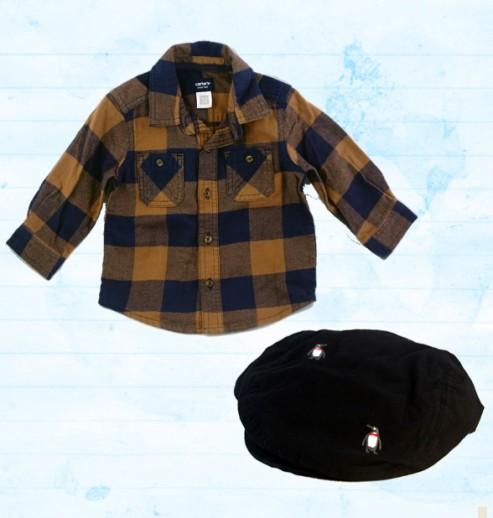 מארז חולצת פלנל Carter's וכובע קסקט פינגווין 9-12 לתינוק