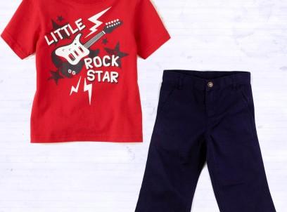 מארז לתינוק 18M – מכנס אלגנט כחול Carter's וחולצה של Children's Place