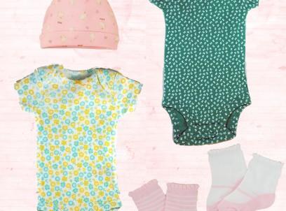 מארז מתנה לתינוקת 6-12M – שני בגדי גוף Carter's, שני זוגות גרבי בלרינה וכובע ארנבון של Children's Place