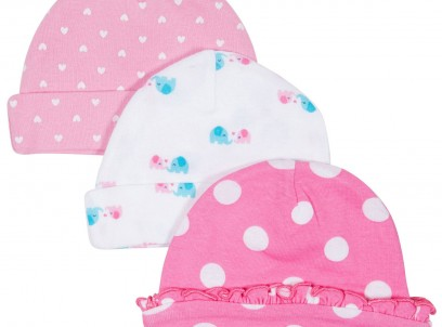 מארז שלושה כובעים לתינוקת במידה 0-6M של Carter's