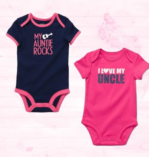 מתנה לתינוקת מהדודה והדוד – שני בגדי גוף במידה NB של Carter's