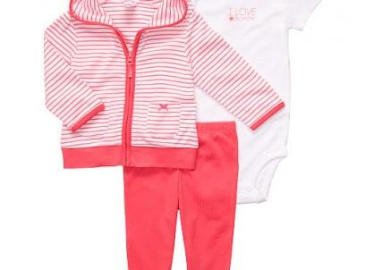 מארז במידת Preemie (פג) בגד גוף, חולצת קפוצ'ון ומכנסיים לתינוקת של Carter's – סוכריה