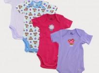 מארז רביעיית בגדי גוף מודפסים לתינוקת של Gerber – קופיפה עם פרח