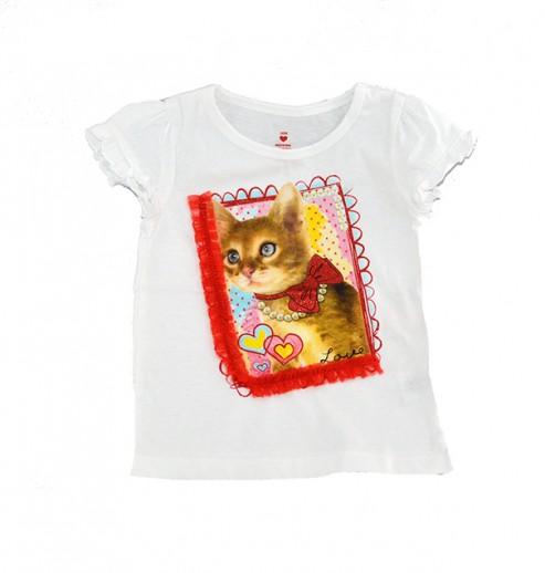 חולצה בהדפס חתלתולה בפפיון מנצנץ