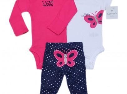 מארז במידת Preemie (פג) שני בגדי גוף ומכנס לתינוקת של Carter's – פרפר נחמד