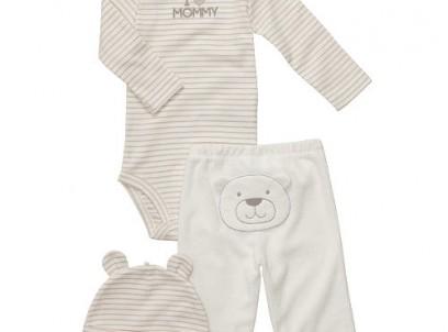 מארז בגד גוף, מכנסיים וכובע לתינוקת של Carter's – דובון של אמא