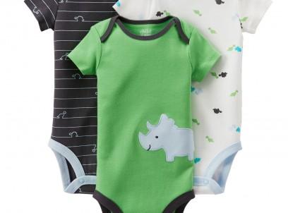 מארז שלישיית בגדי גוף יוניסקס במידת Newborn של Carter's – אן דן דינו!