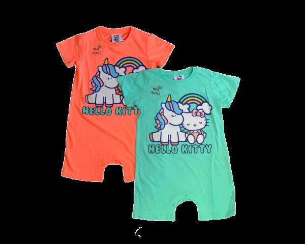 אוברול בנות תינוקות קצר ירוק וורוד