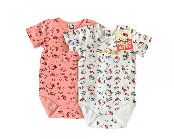 זוג בגדי גוף הלו קיטי לבן וורוד תינוקות 100% כותנה