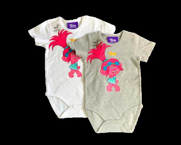 זוג בגדי גוף תינוקות מדוגם לבנות 100% כותנה אפור ולבן